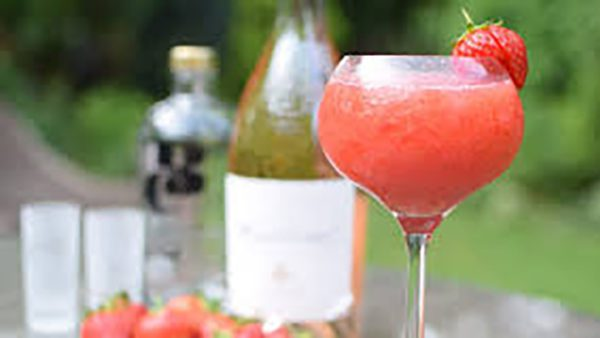 glass of strawberry frose